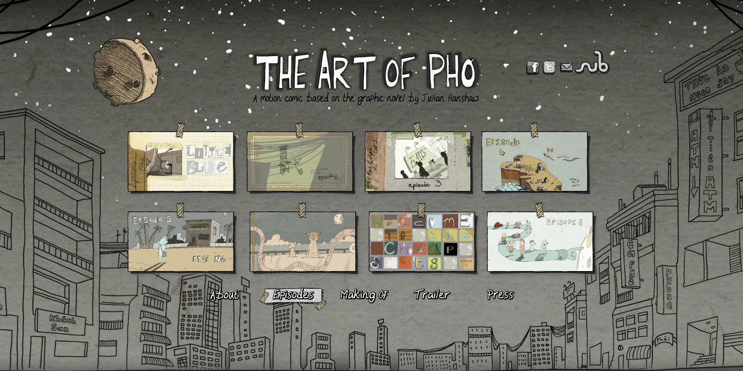 The Art of Pho interactive motion comic website