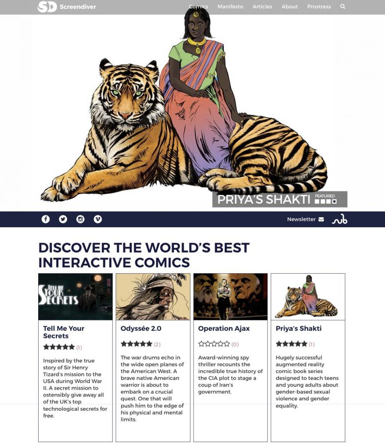 Screendiver interactive comics directory