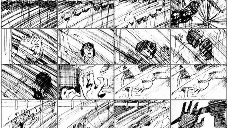 Hitchcock Psycho storyboard