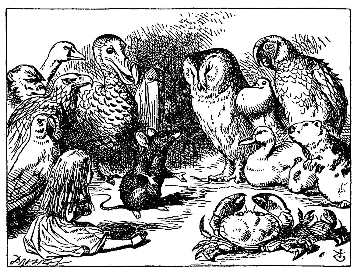 Not only humans tell stories in that storytelling masterpiece that is <em>Alice in Wonderland</em>. (Illustration by John Tenniel)