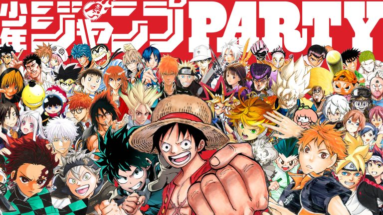 Weekly Shonen Jump banner featuring many of their favorite characters
