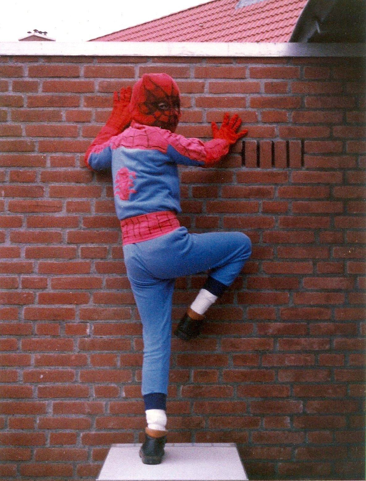 Author Michael Minneboo dressed up as Spider-Man