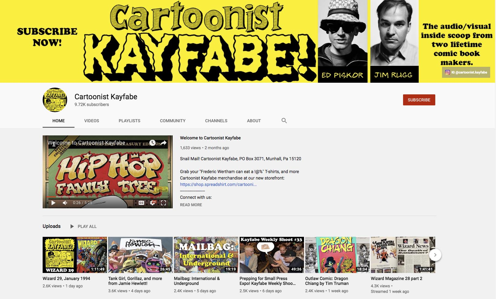 Cartoonist Kayfabe - comic channels on youtube