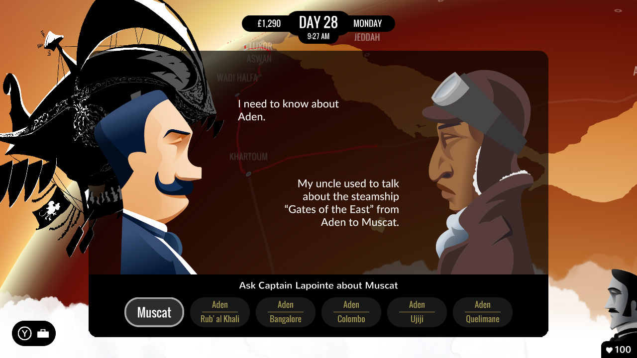 Screenshot from 80 Days (Credit: Inkle)